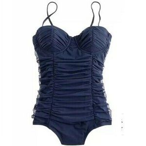 J.Crew Tulle Ruched Navy Swimsuit Size 10